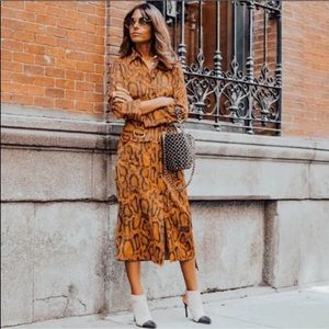 Zara|Snakeskin brown print long sleeves maxi dress